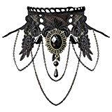 Offer for Aniwon Punk Style Wedding Party Black Lace Choker Beads Tassels Chain Pendant Necklace for Women