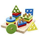 Offer for rolimate Preschool Learning Toys, Wooden Toddler Toy Stacking Shape sorter, Educational Toys for 2 3 4 5 Years Old Boys and Girls
