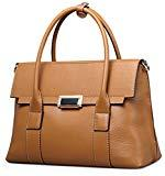 Offer for Qiwang Fashion Big Size Lady Cowhide Leather Casual Tote Top Handle Shoulder Cross Body Handbag Style Purse Satchel Bag for Women (small, Brown)