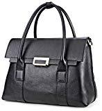 Offer for Qiwang Fashion Big Size Lady Cowhide Leather Casual Tote Top Handle Shoulder Cross Body Handbag Style Purse Satchel Bag for Women (small, black)