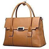 Offer for Qiwang Fashion Big Size Lady Cowhide Leather Casual Tote Top Handle Shoulder Cross Body Handbag Style Purse Satchel Bag for Women (Big, Brown)