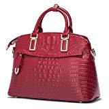 Offer for Qiwang Luxury Fashion Crocodile Tote Top Handle Cross Body Shoulder Shell Purse Handbag Bag for Women (Small, Wine)