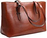 Offer for Iswee Womens Leather Shoulder Handbag Tote Bags Top Handle Bag Designer Ladies Purses Fashion Large Capacity Bags (Horizontal Version-Brown)