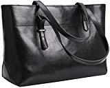 Offer for Iswee Womens Leather Shoulder Handbag Tote Bags Top Handle Bag Designer Ladies Purses Fashion Large Capacity Bags (Horizontal Version-Black)