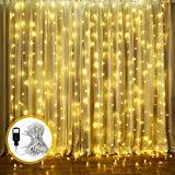 Offer for Curtain String Lights, LED Window Curtain Lights, 9.8ft x 8.2ft 8 Modes Plug in Window String Lights for Wedding Party Home Garden Bedroom Outdoor Indoor Wall Decorations, Warm White (300 LED)
