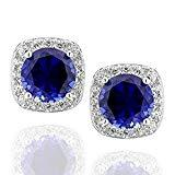 Offer for Sterling Silver 6mm Round Created Blue Sapphire & Cubic Zirconia Halo Stud Earrings