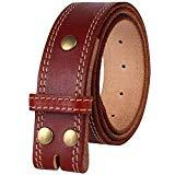 Offer for NPET Mens Leather Belt Double Stitched Full Grain Leather Belts Vegetable Tanned 1.5