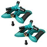 Offer for Lawn Sprinkler, Plemo Automatic Garden Water Sprinklers Lawn Irrigation System with Three Arm, Metal Weighted Base, 3600 Square Feet, Different Spray Direction and Rotation 360� (2 Pack)