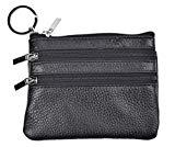 Offer for Yeeasy Womens Mini Coin Purse Wallet Genuine Leather Zipper Pouch with Key Ring (Black)