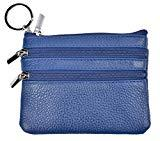 Offer for Yeeasy Womens Mini Coin Purse Wallet Genuine Leather Zipper Pouch with Key Ring (Blue)