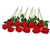 Offer for JUSTOYOU 10pcs Artificial Rose Silk Flower Blossom Bridal Bouquet for Home Wedding Decor(Red)