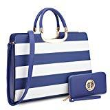 Offer for Dasein Designer Purse Stripes Satchel Handbag PU Leather Purse Top Handle Handbags (XL2828 stripe 2PCs- Blue/White)
