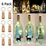 Offer for Wine Bottle Lights with Cork, 6 Pack Battery Operated 20 LED Silver Copper Wire Fairy String Lights for DIY, Party, Decor, Christmas, Halloween,Wedding