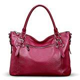 Offer for S-ZONE Women's Vintage Genuine Leather Tote Large Shoulder Bag with Zipper Pocket Outside (Medium-Rose Red)