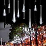 Offer for LED Meteor Shower Lights, Savvypixel 30cm 8 Tube 144 Leds, Falling Rain Drop Icicle Snow Fall String LED Waterproof Christmas Lights for Holiday Xmas Tree Valentine Wedding Party Decoration(White)