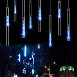 Offer for LED Meteor Shower Lights, Savvypixel 30cm 8 Tube 144 Leds, Falling Rain Drop Icicle Snow Fall String LED Waterproof Christmas Lights for Holiday Xmas Tree Valentine Wedding Party Decoration(Blue)