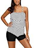 Offer for Dearlove Womens Retro Ruffle Halter Top Two Piece Swimsuit Shirts White Small