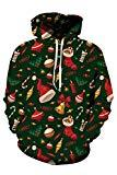 Offer for Kisscynest Unisex Ugly Christmas Hooded Sweatshirt Graphic Hoodies Pullover Xmas Tree XXL