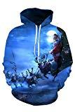 Offer for Kisscynest Unisex Ugly Christmas Hooded Sweatshirt Graphic Hoodies Pullover Reindeers M