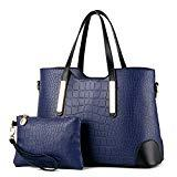 Offer for Pahajim PU leather women top handle satchel handbags tote purse Crocodile handbag (deep blue)