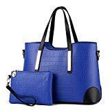 Offer for Pahajim PU leather women top handle satchel handbags tote purse Crocodile handbag (blue)