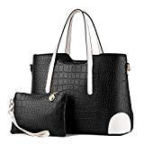 Offer for Pahajim PU leather women top handle satchel handbags tote purse Crocodile handbag (black)