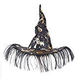 Offer for Rabbitgoo Unisex Halloween Costume Pumpkin Printed Witch Hat for Kids and Adults, Black & Gold