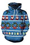 Offer for Kisscynest Unisex Ugly Christmas Hooded Sweatshirt Graphic Hoodies Pullover Santa Claus M
