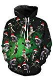 Offer for Kisscynest Unisex Ugly Christmas Hooded Sweatshirt Graphic Hoodies Pullover Fly Cats L