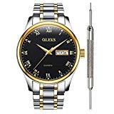 Offer for Black Inexpensive Watches for Men - OLEVS Waterproof Black Mens Calendar Watch Stainless Steel with Date Analog Quartz Couple Watches for Birthday Party Business Father's Day Gift