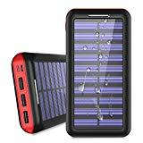 Offer for Power Bank Solar Portable Charger 24000mAh - ALLSOLAR Solar Phone Charger with 3 Fast Charging USB Port and Dual Input External Battery Pack for Android Phones and All Smartphones and More(Red)