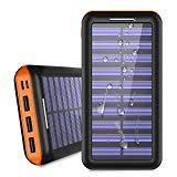Offer for Power Bank Solar Portable Charger 24000mAh - ALLSOLAR Solar Phone charger with 3 Fast Charging USB Port and Dual Input External Battery Pack for Android Phones and All Smartphones and More (Orange)