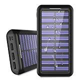 Offer for Power Bank Solar Portable Charger 24000mAh - ALLSOLAR Solar Phone charger with 3 Fast Charging USB Port and Dual Input External Battery Pack for Android Phones and All Smartphones and More(Black)