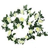 Offer for Sunrisee 1 Pack Artificial Silk Rose Flower Leaf Garland Fake Ivy Vines for Wedding Home Hotel Party Garden Craft Art Decor, 7.3FT (Cream)