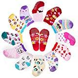 Offer for Yimaler 12-Pack Anti-Slip Soft Cotton Colorful Socks for Baby Kid for 12-36 Months Cute Cartoon Printed Baby Boys Girls Toddlers Non-Skid Socks for Size 3.5''-4.7'' ...