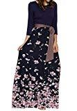 Offer for Makkrom Womens Maxi Dresses 3/4 Sleeve High Waist Floral Pleated Long Dress with Belt, Navy1, Small