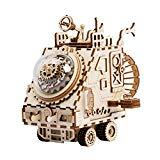 Offer for ROKR Wooden Hand Crank Music Box Machinarium-DIY Model Kits-Creative Robot Toy-3d Wooden Puzzle Building Kit-Best Christmas/Birthday for Women,Boys and Girls