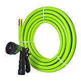 Offer for GREEN MOUNT Garden Hose 25 Feet with 5/8 Solid Brass Coupling Fittings, Durable and Flexible Water Hose, 6 Function High Pressure Spray Nozzle for Household Use