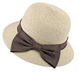Offer for Womens UPF 50+ Wide Brim Braided Sun hat with Decorative Bow,Mix Beige