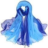 Offer for ZORJAR Womens Silk Scarves Beatiful Color Thin Lightweight Sunscreen Shawls and Beach Wraps(Gradient Royal Blue)