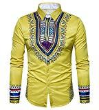 Offer for Makkrom Men's Long Sleeve Tribal Dashiki Floral Top Blouse (X-Large, Yellow)