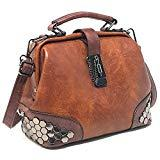 Offer for Vegan Leather Women's Handbag and Purse - Ladies' Doctor Bag w/Top Handle - Tote
