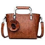 Offer for Top-Handle Mini Handbag for Women - Ladies Small Leather Purse (Vintage Brown)