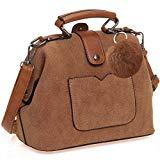 Offer for Vegan Suede Women Handbag and Purse - Ladies Top-Handle Doctor's Bag - Crossbody and Shoulder Tote