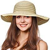 Offer for Tirrinia Floppy Straw Sun Hat for Women Striped Foldable Beach Cap with Wide Brim Beige