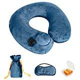 Offer for Doormoon Inflatable Travel Pillow, Lightweight Foldable Velvet Office Break Pillows Eye Mask Earplugs Kit for Airplane, Car, Train, Bus and Home- Dark Blue