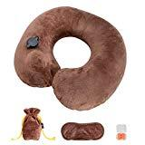 Offer for Inflatable Travel Pillow- SHANSHUI Comfortable U-Shape Neck Support Pillows with Portable Storage Bag for Airplane, Car, Train
