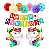 Offer for Unicorn Balloons Party Supplies Decorations Unicorn Kit with Gold Happy Birthday Banner, Foil & Latex Balloons w/Air Pump 27 Pieces Unicorn Theme Decor Pack (Colorful Unicorn)