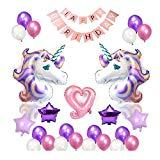 Offer for YIXIA Unicorn Balloons Party Supplies Decorations Unicorn Kit with Gold Happy Birthday Banner, Foil & Latex Balloons w/Air Pump 27 Pieces Unicorn Theme Decor Pack (Unicorn Kit)