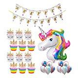 Offer for Unicorn Balloons Party Supplies Decorations Unicorn Kit with Gold Happy Birthday Banner, Foil & Latex Balloons w/Air Pump 27 Pieces Unicorn Theme Decor Pack (Unicorn Cupcake)